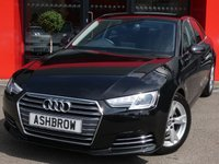 USED 2015 65 AUDI A4 2.0 TDI ULTRA SPORT 4d 150 S/S NEW SHAPE, SAT NAV, AUDI SMART PHONE WITH APPLE CAR PLAY & ANDROID AUTO, AUDI CONNECT, DAB RADIO, CRUISE CONTROL WITH SPEED LIMITER, LED DAYTIME RUNNING LIGHTS, BLUETOOTH PHONE & MUSIC STREAMING, REAR PARKING SENSORS,  17 INCH 5 SPOKE ALLOYS, GREY CLOTH INTERIOR, SPORT SEATS, LEATHER MULTIFUNCTION STEERING WHEEL, LIGHT & RAIN SENSORS, AUDI DRIVE SELECT, FRONT & REAR ARM RESTS, KEYLESS START, WIFI, AUX INPUT, 2x USB PORTS, CD WITH 2x SD CARD READERS, 3 ZONE CLIMATE AIR CON, FULL SERVICE HISTORY