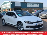 "USED 2009 09 VOLKSWAGEN SCIROCCO 2.0 GT DSG AUTO CANDY WHITE PAN SUNROOF 200 BHP 10 x Service Stamps Climate Control Privacy Glass Bluetooth 18"" Alloys"
