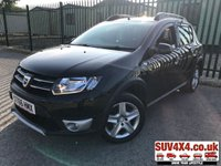USED 2016 66 DACIA SANDERO 1.5 STEPWAY LAUREATE DCI 5d 90 BHP SAT NAV AIR CON CRUISE FSH SATELLITE NAVIGATION. BLACK MET WITH BLACK CLOTH TRIM. CRUISE CONTROL. 16 INCH ALLOYS. COLOUR CODED TRIMS. PARKING SENSORS. BLUETOOTH PREP. AIR CON. R/CD PLAYER WITH AUX. MOT 08/20. SERVICE HISTORY. SUV4X4 USED CAR CENTRE LS23 7FR TEL 01937 849492 OPTION 1