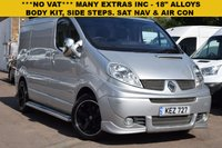 "USED 2014 RENAULT TRAFIC 2.0 SL27 SPORT DCI S/R P/V 1d 115 BHP NO VAT on this 2014 Renault Trafic SL27 2.0dci Sport in silver metallic with 18"" black alloy wheels, body kit, side steps, chrome finished door mirrors and bumper protection, sat nav, bluetooth, air con, cruise control and much more! 4 service stamps."