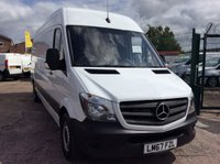 USED 2017 67 MERCEDES-BENZ SPRINTER LWB 2.1 314CDI 140 BHP 1 OWNER FSH CRUISE MANUFACTURER'S WARRANTY EURO 6 CRUISE CONTROL SPARE KEY 6 SPEED BLUETOOTH ELECTRIC WINDOWS