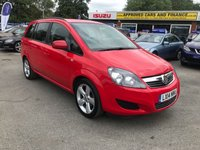 2014 VAUXHALL ZAFIRA 1.8 EXCLUSIV 5d 120 BHP IN RED WITH ONLY 18500 MILES, FULL SERVICE HISTORY AND ONLY 1 OWNER  £6799.00