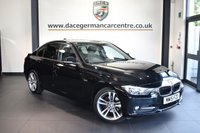 """USED 2015 15 BMW 3 SERIES 2.0 318D SPORT 4DR 141 BHP full service history * NO ADMIN FEES * FINISHED IN STUNNING BLACK WITH ANTHRACITE UPHOLSTERY + FULL SERVICE HISTORY + SATELLITE NAVIGATION + BLUETOOTH + DAB RADIO + CRUISE CONTROL +LIGHT PACKAGE + RAIN SENSORS + AUTO AIR CON + SPORT SEATS + PARKING SENSORS + 18"""" ALLOY WHEELS"""