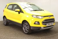 USED 2016 16 FORD ECOSPORT 1.5 TITANIUM 5DR AUTO HEATED HALF LEATHER 1 OWNER 110 BHP FULL SERVICE HISTORY + HEATED HALF LEATHER SEATS + BLUETOOTH + CRUISE CONTROL + CLIMATE CONTROL + MULTI FUNCTION WHEEL + ELECTRIC WINDOWS + RADIO/CD/AUX/USB + ELECTRIC MIRRORS + 17 INCH ALLOY WHEELS