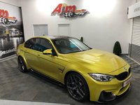USED 2016 16 BMW M3 3.0 M3  426 BHP RARE 6 SPEED MANUAL FINISHED IN AUSTIN YELLOW FSH INCLUDING RUN IN SERVICE M-PERFORMANCE CARBON KIT!!