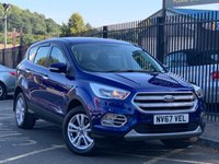 USED 2017 67 FORD KUGA 2.0 ZETEC TDCI 5d 148 BHP STUNNING METALLIC CHROME BLUE PAINT, CHARCOAL CLOTH INTERIOR TRIM, SAT NAV, ALLOY WHEELS, REAR PARKING SENSORS, A/C, DAB RADIO, CD PLAYER, GREAT 4 X 4, TOW BAR VERY LOW MILEAGE, JUST 1 OWNER