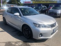 2012 LEXUS CT 1.8 200H SE-L 5d AUTO 136 BHP IN SILVER WITH 72000 MILES, FULL SERVICE HISTORY AND A GREAT SPEC INCLUDING SAT NAV AND FULL LEATHER. £9999.00