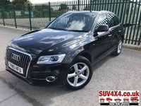 USED 2015 15 AUDI Q5 2.0 TDI QUATTRO S LINE 5d AUTO 187 BHP LEATHER ONE OWNER 4WD. STUNNING BLACK MET WITH BLACK LEATHER TRIM. HEATED SEATS. CRUISE CONTROL. 19 INCH ALLOYS. COLOUR CODED TRIMS. PARKING SENSORS. BLUETOOTH PREP. MULTI MEDIA SCREEN. CLIMATE CONTROL. TRIP COMPUTER. R/CD/MP3 PLAYER. MFSW. MOT 07/20. ONE OWNER. SERVICE HISTORY. SUV4X4 USED SUV CENTRE LS23 7FR. TEL 01937 849492. OPTION 2