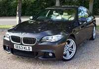 """USED 2013 63 BMW 5 SERIES 2.0 520D M SPORT 4d AUTO 181 BHP/ PRO SAT NAV/ HEATED SEATS BEAUTIFUL LOOKING BMW 5 SERIES 520D M SPORT AUTOMATIC WITH PROFESSIONAL SAT NAV/ CREAM LEATHER SEATS/ HEATED SEATS/ CRUISE CONTROL/ PARKING SENSORS/ XENONS/ WITH FULL SERVICE HISTORY/ LAST FULL SERVICE WITH MAIN DEALER 27/04/2019 @62'569 mileage (Receipt £1461,24), ALL 4 NEW TYRES - BSTONE 245/40R/F19 & BRIDGE STONE 245/35RF/19;/ MOT - 15/05/2020/ WARRANTY/ 2 KEYS/ ROAD TAX £125,-/  HPI CLEARED/  BOOK A TEST DRIVE TODAY!  APPLY FOR A CAR FINANCE ON OUR WEBSITE PAGE """"FINANCE""""."""
