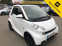 "USED 2013 62 SMART FORTWO CABRIO 1.0 PASSION MHD 2d AUTO 71 BHP IN WHITE WITH BLACK ALLOYS WITH ONLY 50500 MILES. ULEZ COMPLIANT APPROVED CARS ARE PLEASED TO OFFER THIS 2012 SMART FORTWO CABRRIO 1.0 PASSION MHD 2 DOOR AUTO 71 BHP IN WHITE WITH BLACK ALLOY WHEELS. THIS IS A PERFECT LITTLE TOWN RUN AROUND AND WITH A 1.0L ENGINE IS VERY ECONOMICAL WITH  A GREAT SPEC INCLUDING A BLACK CLOTH INTERIOR,CONVERTIBLE ROOF, 7"" TOUCH SCREEN RADIO WITH DAB AND BLUETOOTH, AIR CON AND MUCH MUCH MORE WITH A FULL SERVICE HISTORY. FOR MORE INFORMATION AND TO BOOK A TEST DRIVE PLEASE CALL 01622 871555. ."