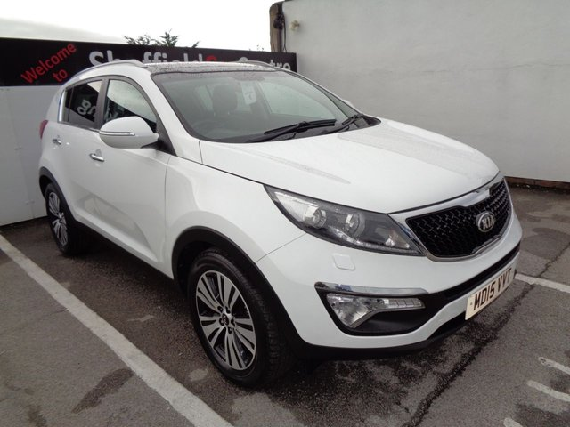 USED 2015 15 KIA SPORTAGE 1.7 CRDI 3 SAT NAV ISG 5 door  114 BHP white £249 A Month With No Deposit 18 Inc Alloys Full Leather Trim Sat Nav Panoramic Roof Parking Sensors Privacy Glass