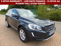 USED 2016 16 VOLVO XC60 2.4 D5 SE LUX NAV AWD 5d 217 BHP All retail cars sold are fully prepared and include - Oil & filter service, 6 months warranty, minimum 6 months Mot, 12 months AA breakdown cover, HPI vehicle check assuring you that your new vehicle will have no registered accident claims reported, or any outstanding finance, Government VOSA Mot mileage check. Because we are an AA approved dealer, all our vehicles come with free AA breakdown cover and a free AA history check.. Low rate finance available. Up to 3 years warranty available.