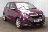 USED 2015 65 PEUGEOT 108 1.0 ACTIVE 5d 68 BHP FINISHED IN A STUNNING PURPLE ALONG WITH BLACK INTERIOR + SERVICE HISTORY + BLUETOOTH + FREE ROAD TAX + EXCELLENT MPG + DAB RADIO + AIR CON + ELECTRIC WINDOWS