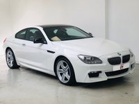 USED 2012 12 BMW 6 SERIES 3.0 640D M SPORT 2d AUTO 309 BHP BLACK ROOF + SAT NAV + TAN LEATHER + STUNNER IN WHITE + LOW MILES