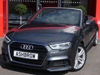 USED 2017 67 AUDI A3 CABRIOLET 2.0 TDI S LINE 2d AUTO 150 S/S NEW SHAPE, £1845 OF OPTIONAL EXTRAS, UPGRADE COMFORT PACK INCLUDING LIGHT & RAIN SENSOR, SAT NAV, BANG & OLUFSEN HIFI, HEATED FRONT SEATS, REAR PARKING SENSORS, DAB RADIO, BLUETOOTH PHONE & MUSIC STREAMING, AUDI SMARTPHONE FOR APPLE CAR PLAY / ANDROID AUTO, AUDI CONNECT, WIFI, CRUISE CONTROL, LED XENON LIGHTS, FLAT BOTTOM MULTIFUNCTION TIPTRONIC STEERING WHEEL, AUDI DRIVE SELECT, CLIMATE CONTROL, AUX, USB, CD SD & SIM READERS, 1 OWNER FROM NEW, FULL SERVICE HISTORY, BALANCE OF AUDI WARRANTY