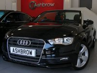 USED 2016 16 AUDI A3 CABRIOLET 1.4 TFSI SPORT NAV 2d 150 S/S FULL SERVICE HISTORY, £30 ROAD TAX (116 G/KM), UPGRADE REAR PARKING SENSORS, SAT NAV, DAB RADIO, BLUETOOTH PHONE & MUSIC STREAMING, AUDI MUSIC INTERFACE FOR IPOD / USB DEVICES (AMI), MANUAL 6 SPEED, 17 INCH 5 SPOKE ALLOYS, GREY CLOTH INTERIOR, SPORT SEATS, LEATHER FLAT BOTTOM MULTIFUNCTION STEERING WHEEL, LIGHT & RAIN SENSORS, AUDI DRIVE SELECT, AUTO HILL HOLD, DUAL CLIMATE AIR CON, FRONT CENTRE ARM REST, CD HIFI WITH SD CARD READERS, TYRE PRESSURE MONITORING SYSTEM,  ELECTRIC CONVERTIBLE ROOR