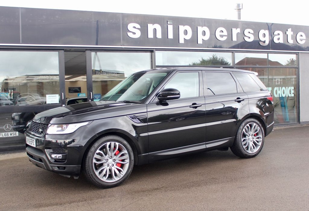 """USED 2016 16 LAND ROVER RANGE ROVER SPORT 3.0 SDV6 HSE DYNAMIC 5d AUTO 306 BHP 1 Previous Owner Metallic Black Range Rover Sport 3.0 SDV6 HSE Dynamic, Full Land Rover Service History - Just Serviced, Panoramic Roof, 21"""" Alloys, Heated Front And Rear Seats, Hdd Premium Navigation, Dynamic Response, Privacy Glass, Rear Parking Camera, Premium Noble Plated Paddle Shift, 2 Keys and Book Pack"""