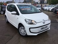 USED 2013 63 VOLKSWAGEN UP 1.0 MOVE UP BLUEMOTION TECHNOLOGY 3d 59 BHP EXCEPTIONALLY LOW MILEAGE,WITH SERVICE HISTORY