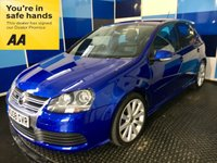 "USED 2008 08 VOLKSWAGEN GOLF 3.2 R32 5d 250 BHP A truely wonderfull example of this much soughtafter sporty 5 door hatchback finished in unmarked deep blue pearl contrasted with 18"" unblemished 10 spoke alloys,This car comes with full main agent service history,plus lots of additional paperwork,coming with full grey leather interior,dual zone climate control ,auto lights and wipers,tyre pressure monitoring system,xenon headlights with auto wash plus all the usual refinements. A wonderful oportunity to own one of the future collectables."