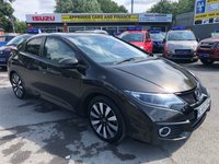 USED 2015 15 HONDA CIVIC 1.8 I-VTEC SR 5d AUTO 140 BHP IN METALLIC BRONZE WITH  33000 MILES AND A FULL FRANCHISE SERVICE HISTORY . ULEZ COMPLIANT APPROVED CARS ARE PLEASED TO OFFER THIS 2015 HONDA CIVIC 1.8 I-VTEC SR 5 DOOR AUTOMATIC IN METALLIC BRONZE. THE VEHICLE COMES WITH A FULL DEALERSHIP SERVICE HISTORY, SERVICED AT 8K, 16K, 23K AND 31K MILES. IT IS CURRENTLY ON A FIVE YEAR SERVICE PLAN FROM HONDA SO THE NEXT SERVICE WILL BE FREE. ALONG WITH THAT, THE VEHICLE HAS A GREAT SPEC INCLUDING SAT NAV, REVERSE CAMERA, FRONT AND REAR PARKING SENSORS,FULL LEATHER INTERIOR,PANORAMIC ROOF AND MUCH MUCH MORE. FOR MORE INFORMATION OR TO BOOK A TE