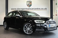 "USED 2016 66 AUDI S3 2.0 S3 QUATTRO 3DR 306 BHP full service history * NO ADMIN FEES * FINISHED IN STUNNING MITHOS BLACK WITH HALF LEATHER INTERIOR + FULL SERVICE HISTORY + SATELLITE NAVIGATION + BLUETOOTH + XENON LIGHTS + HEATED SEATS + DAB RADIO + CRUISE CONTROL + CLIMATE CONTROL + USB/AUX PORT + HEATED MIRRORS + 18"" ALLOY WHEELS"