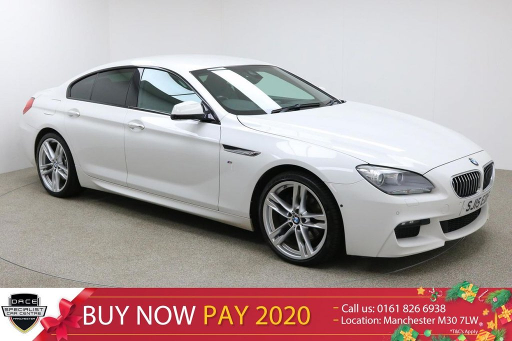 """USED 2015 15 BMW 6 SERIES GRAN COUPE 3.0 640D M SPORT GRAN COUPE 4d AUTO 309 BHP Finished in stunning Alpine White Metallic with Black Leather Seats, 20"""" Alloy Wheels, Privacy Glass, Parking Sensors, Reversing Camera, Xenon Headlights, Surround Parking Camera and Full BMW Service History. Sat Nav, Bluetooth, DAB Radio, Stop/Start, Air Con, Climate Control, Multi Function Wheel, Cruise Control, Electric Mirrors and Windows"""