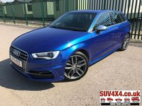 USED 2016 16 AUDI A3 2.0 S3 SPORTBACK QUATTRO 5d 296 BHP SATNAV LEATHER ONE OWNER  BODYKIT. SATELLITE NAVIGATION. STUNNING BLUE MET WITH FULL BLACK SPORT LEATHER TRIM. HEATED SEATS. CRUISE CONTROL. 18 INCH ALLOYS. COLOUR CODED TRIMS. PARKING SENSORS. BLUETOOTH PREP. CLIMATE CONTROL. TRIP COMPUTER. R/CD/MP3 PLAYER. MFSW. MOT 02/20. ONE OWNER FROM NEW. SERVICE HISTORY. SUV4X4 USED CAR CENTRE LS23 7FQ. TEL 01937 849492. OPTION 1