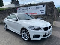 USED 2015 15 BMW 2 SERIES 2.0 218D M SPORT 2d 141 BHP CORAL RED LEATHER+SATELLITE NAVIGATION+LOW COST ROAD TAX
