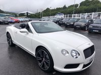 USED 2013 BENTLEY CONTINENTAL 4.0 GTC V8 2d 500 BHP White with Black, 21 inch alloys, DAB, Neck warmers ++ Just 14,000 miles