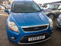 """USED 2009 59 FORD KUGA 2.0 TITANIUM TDCI AWD 5d 134 BHP A stunning example of this much admired diesel crossover finished in unmarked metalic blue paintwork enhanced with 18"""" alloy wheels .This car comes with half leather interior,cruise control / speed limiter,auto lights/wipers,dab cd radio with usb/aux inputs,bluetooth phone prep,side steps ,towbar,front and rear parking sensors/fog lamps,keyless entry and start plus all the usual refinements.It looks and drives superbly,definitely one to consider,an d nits four wheel drive"""