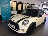 USED 2016 16 MINI HATCH COOPER 1.5 COOPER D 3d 114 BHP One lady owner from new, Full Mini service history- two visits. August 2020 advisory free Mot. Finished in Pepper White with Black roof, mirror caps, Bonnet stripes & Alloy wheels.