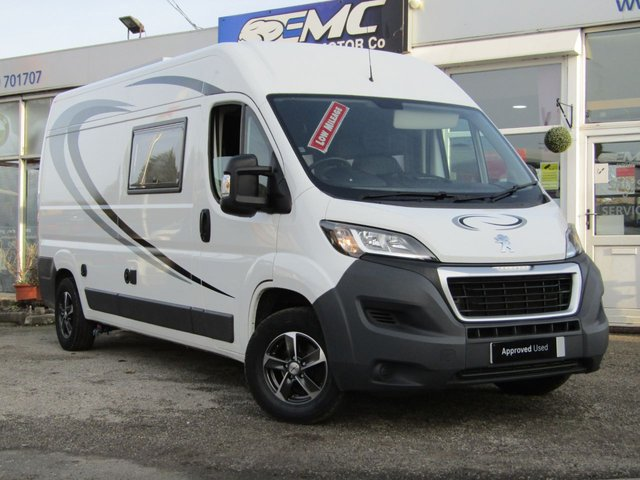 USED 2016 16 PEUGEOT MOTORHOME CONVERSION BOXER 3 BERTH CAMPER VAN 2.2 HDI 335 L3H2 PROFESSIONAL P/V 1d 130 BHP Stunning, Peugeot Boxer L3H2 2.0HDI 130 BHP Professional NEW CONVERSION into a 3 berth motorhome. Features include, Truma Boiler, Shower & Thetford toilet, Gas hob with sink, Split Charging system, 240v hook up, twin Captains front swivel seats, L.E.D Lighting, 240v plugs with USB Charging, 90L fridge 240/12v with freezer built in, Alloy wheels, LPG Certificate, LPG tank, 3 x Seitz opening windows with blinds, Leisure battery, Under Bed storage, Heavy Duty durable Lino floor, TV' Ariel,