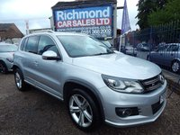 "USED 2013 63 VOLKSWAGEN TIGUAN 2.0 R LINE TDI BLUEMOTION TECH 4MOTION DSG 5d AUTO 139 BHP GREAT VALUE 4X4, 18"" ALLOYS, AIR CONDITIONING, F.S.H"