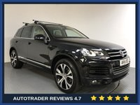 USED 2014 14 VOLKSWAGEN TOUAREG 3.0 V6 R-LINE TDI BLUEMOTION TECHNOLOGY 5d AUTO 242 BHP FULL VW HISTORY - PAN ROOF - LEATHER - PARKING SENSORS - AIR CON - BLUETOOTH - DAB - 20' ALLOYS
