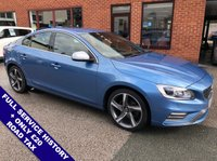 USED 2014 64 VOLVO S60 1.6 D2 R-DESIGN LUX 4DDOR 113 BHP ONLY £20 Road Tax   :   DAB   :   Satellite Navigation   :   USB & AUX   :   Car Hotspot / WiFi     Cruise Control / Speed Limiter   :   Bluetooth Connectivity   :   Climate Control / Air Con      Heated Front Seats   :   Electric Driver Seat   :   Rear Parking Sensors   :   Full Service History