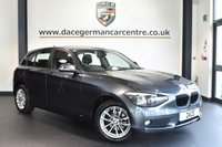 "USED 2013 13 BMW 1 SERIES 2.0 118D SE 5DR AUTO 141 BHP full service history * NO ADMIN FEES * MINERAL METALLIC GREY WITH ANTHRACITE UPHOLSTERY + FULL SERVICE HISTORY + BLUETOOTH + DAB RADIO + CRUISE CONTROL + RAIN SENSORS + PARKING SENSORS + 16"" ALLOY WHEELS"