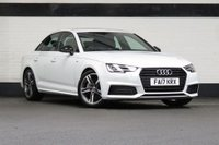 USED 2017 17 AUDI A4 2.0 SALOON TDI S LINE 5d AUTO 188 BHP STUNNING METALLIC GLACIER WHITE PAINT, HALF LEATHER SLINE INTERIOR, SAT NAV, 18 INCH UPGRADED ALLOYS, LARGER FUEL TANK, BLACK PACK, BLACK MIRRORS, HEATED SEATS, CRUISE CONTROL, 1 OWNER, AUDI SERVICE HISTORY