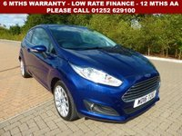 USED 2016 16 FORD FIESTA 1.5 TITANIUM X TDCI 3d 94 BHP All retail cars sold are fully prepared and include - Oil & filter service, 6 months warranty, minimum 6 months Mot, 12 months AA breakdown cover, HPI vehicle check assuring you that your new vehicle will have no registered accident claims reported, or any outstanding finance, Government VOSA Mot mileage check. Because we are an AA approved dealer, all our vehicles come with free AA breakdown cover and a free AA history check.. Low rate finance available. Up to 3 years warranty available.