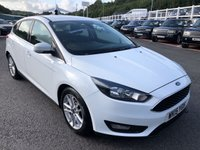 USED 2015 15 FORD FOCUS 1.6 ZETEC 5d 124 BHP White, Sat Nav, DAB, Bluetooth. Only 47,000 mils with service history