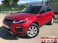 USED 2016 66 LAND ROVER RANGE ROVER EVOQUE 2.0 TD4 SE TECH 5d AUTO 177 BHP FACELIFT PANROOF SATNAV LEATHER  FACELIFT. PANORAMIC SUNROOF. SATELLITE NAVIGATION. STUNNING RED MET WITH FULL BLACK LEATHER TRIM. ELECTRIC HEATED SEATS. CRUISE CONTROL. 18 INCH ALLOYS. COLOUR CODED TRIMS. PRIVACY GLASS. PARKING SENSORS. BLUETOOTH PREP. CLIMATE CONTROL INCLUDING AIR CON. MULTIMEDIA SYSTEM. R/CD/DAB RADIO. MFSW. MOT 08/20. ONE OWNER. SERVICE HISTORY. SUV & 4X4 CAR CENTRE LS23 7FR. TEL 01937 849492. OPTION 2