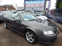 USED 2007 07 SAAB 9-3 2.0 VECTOR T 2d 150 BHP GREY LEATHER INTERIOR, ALLOY WHEELS. F.S.H, ELECTRIC HOOD