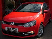 USED 2015 15 VOLKSWAGEN POLO 1.0 SE 5d 60 S/S BLUETOOTH PHONE & MUSIC STREAMING, DAB RADIO, AUX & USB, MANUAL 5 SPEED GEARBOX, START STOP TECHNOLOGY, FRONT CORNERING LIGHTS, 15 INCH 10 SPOKE ALLOYS, GREY CLOTH INTERIOR, LEATHER FLAT BOTTOM MULTIFUNCTION STEERING WHEEL, AIR CONDITIONING, CD HIFI WITH SD CARD READER, ELECTRIC WINDOWS, ELECTRIC HEATED DOOR MIRRORS, ILLUMINATING VANITY MIRRORS, TYRE PRESSURE MONITORING SYSTEM, ISO FIX, FOLDING REAR SEATS. SERVICE HISTORY, £20 ROAD TAX (106 G/KM), VAT QUALIFYING