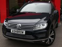USED 2016 16 VOLKSWAGEN TOUAREG 3.0 TDI V6 R-LINE BLUEMOTION TECH 5d AUTO 260 S/S 1 OWNER FROM NEW, FULL VW MAIN DEALER SERVICE HISTORY, HDD SAT NAV, PANORAMIC SUN ROOF (PAN ROOF), FULL LEATHER, HEATED FRONT SEATS, DAB RADIO, BLUETOOTH PHONE & MUSIC STREAMING, MDI INPUT, LED XENON LIGHTS, FRONT FOG LIGHTS, HEADLAMP WASHERS, FRONT & REAR PARKING SENSORS WITH DISPLAY, SILVER ROOF RAILS, ELECTRIC TAILGATE, KEYLESS ENTRY & START, TWIN EXHAUST, PRIVACY GLASS, LEATHER MULTIFUNCTION TIPTRONIC STEERING WHEEL, HEATED STEERING WHEEL, CRUISE CONTROL, LIGHT & RAIN SENSORS, VAT Q