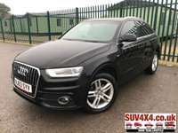 USED 2013 63 AUDI Q3 2.0 TDI QUATTRO S LINE 5d 138 BHP SATNAV LEATHER PRIVACY 4WD. SATELLITE NAVIGATION. STUNNING BLACK MET WITH BLACK LEATHER S-LINE SPORTS TRIM. CRUISE CONTROL. 18 INCH BLACK ALLOYS. COLOUR CODED TRIMS. PRIVACY GLASS. PARKING SENSORS. BLUETOOTH PREP. CLIMATE CONTROL. TRIP COMPUTER. R/CD/MP3 PLAYER. 6 SPEED MANUAL. MFSW. MOT 08/20. SERVICE HISTORY. SUV4X4 USED SUV CENTRE LS23 7FR. TEL 01937 849492 OPTION 2