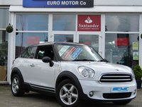 USED 2013 63 MINI MINI PACEMAN 1.6 COOPER 3d 122 BHP STUNNING MINI PACEMAN COOPER 1.6. Finished in LIGHT WHITE PEARL with BLACK DOOR STRIPES and contrasting Dark Grey Trim. This rare and quirky fun car is distinctive in appearance. Great Features witch include, Air Con, Blue tooth, DAB and much more.  Dealer serviced at 16268 miles and at 34072 miles.