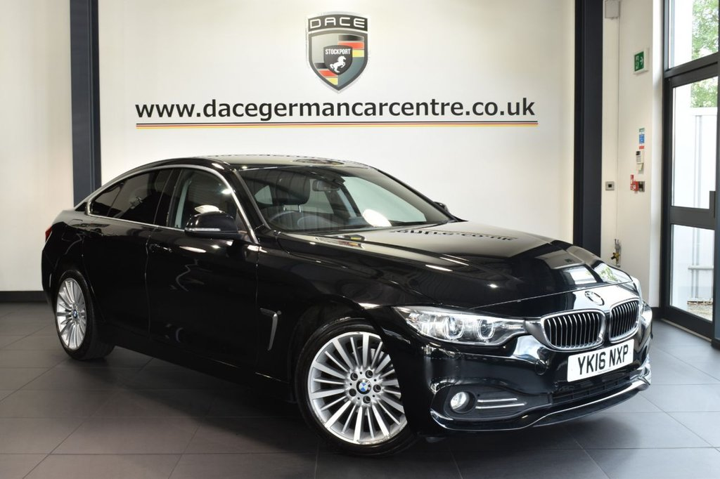 USED 2016 16 BMW 4 SERIES GRAN COUPE 2.0 420D LUXURY GRAN COUPE 4DR AUTO 188 BHP excellent service history Finished in a stunning sapphire metallic black with alloy wheels, styled with immaculate full heated leather interior. Upon opening the drivers door you are presented with pro satellite navigation, bluetooth, xenon lights, dab radio, cruise control, light package, automatic air con, cruise control with brake functionrain sensors, parking sensors, luxury line