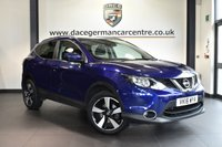 """USED 2016 16 NISSAN QASHQAI 1.5 N-CONNECTA DCI 5DR 108 BHP full service history * NO ADMIN FEES * FINISHED IN STUNNING BLUE WITH CLOTH UPHOLSTERY + FULL SERVICE HISTORY + SATELLITE NAVIGATION + PANORAMIC ROOF + BLUETOOTH + REAR-VIEW CAMERA + DAB RADIO + CRUISE CONTROL + ELECTRIC FOLDING MIRRORS + PARKING SENSORS + 18"""" ALLOY WHEELS"""