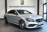 """USED 2016 66 MERCEDES-BENZ CLA 2.1 CLA 200 D AMG LINE 4DR AUTO 134 BHP full service history * NO ADMIN FEES * FINISHED IN STUNNING POLAR METALLIC SILVER WITH HALF LEATEHR INTERIOR + FULL SERVICE HISTORY + COMAND SATELLITE NAVIGATION + BLUETOOTH + HEATED SEATS + CRUISE CONTROL + ATTENTION ASSIST + AUTOMATIC CLIMATE CONTROL + AMG STYLING PACKAGE-FRONT SPOILER, SIDE SKIRT + DIRECT START / ECO START/STOP FUNCTION + ACTIVE PARK ASSIST + 18"""" ALLOY WHEELS"""