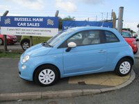 USED 2012 62 FIAT 500 1.2 COLOUR THERAPY 3d 69 BHP 3 Stamps of service history-2 Owner Car. £30 Yearly Road Tax. New MOT & Full Service Done on purchase + 2 Years FREE Mot & Service Included After . 3 Months Russell Ham Quality Warranty . All Car's Are HPI Clear . Finance Arranged - Credit Card's Accepted . for more cars www.russellham.co.uk  Spare Key + Owners Book Pack. -