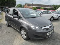 USED 2012 62 VAUXHALL ZAFIRA 1.6 EXCLUSIV 5d 113 BHP FULL SERVICE HISTORY 7 SEVEN SEATER